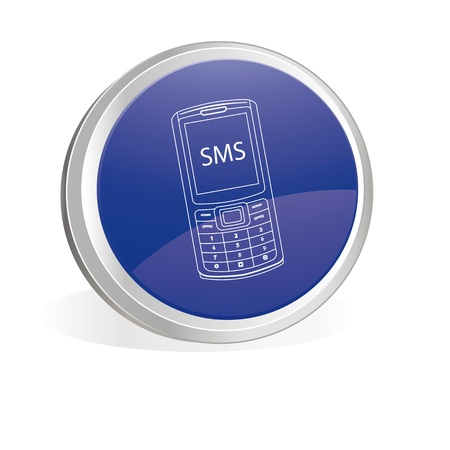 Blue button with mobile symbol Stock Vector - 9601746