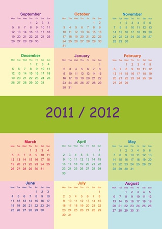 Colorful school calendar on new year school from 2011 to 2012 year Vector