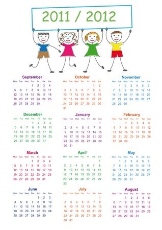 Bunte Schulkalender auf Neujahr School von 2011 bis 2012 Jahre Illustration