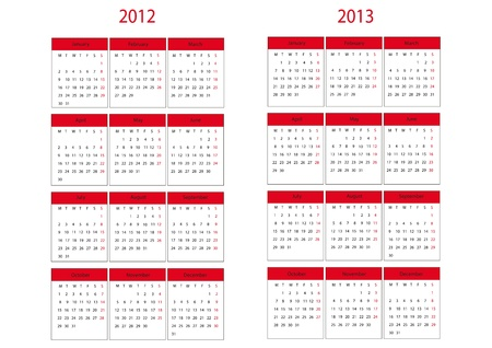 next year: Calendars on two next year start in Monday
