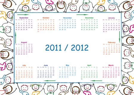 day planner: Colorful school calendar on new year school from 2011 to 2012 year