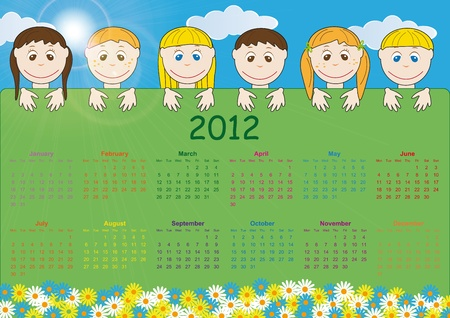 Colorful kids calendar on 2012 year photo