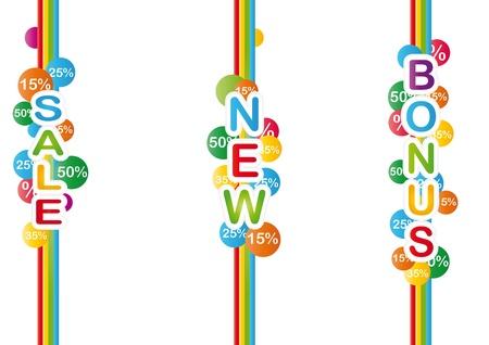 Trois étiquettes de promotion boutique coloré
