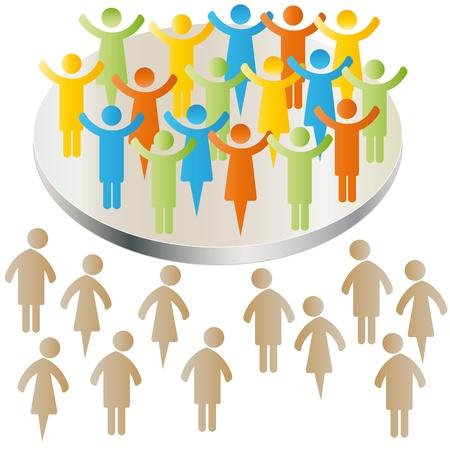discriminacion: Exclusi�n de los pueblos triste con grupo Vectores