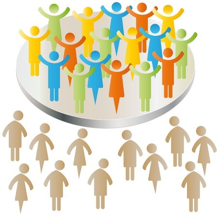 discrimination: Sad peoples exclusion with group Illustration