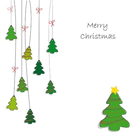weihnachten tanne: Zeichenblatthintergrund auf Weihnachtskarte Illustration