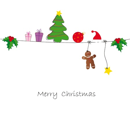 Drawing background on Christmas card Illustration