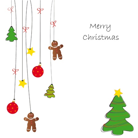 christmas cookie: Drawing background on Christmas card Illustration
