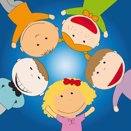 Happy children on sky background