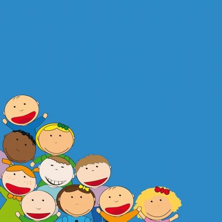 Happy children on sky background Vector