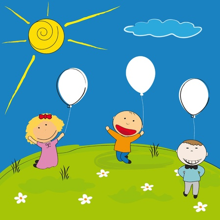 Happy children with balloon on meadow Vector