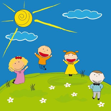 animated boy: Happy girls and boys on meadow