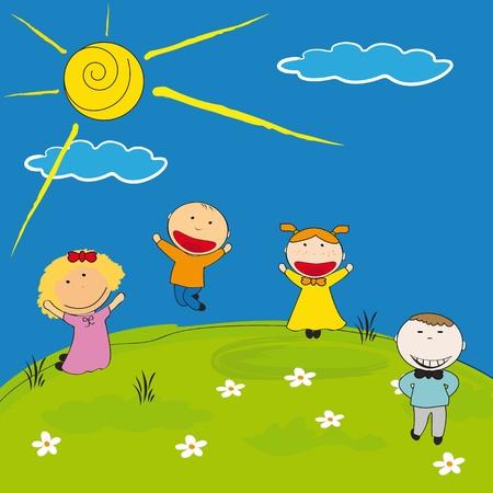 flower nursery: Happy girls and boys on meadow
