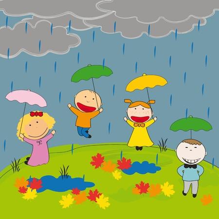 Niños y niñas felices en la pradera en lluvia