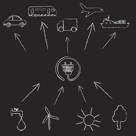 Concept ecology power on blackboard Stock Vector - 10079256