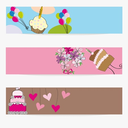 Banners on birthday, wedding or valentine Stock Vector - 10320500