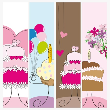 Banners on birthday, wedding or valentine Vector