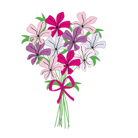 cartoon bouquet: Drawing bunch of color flowers