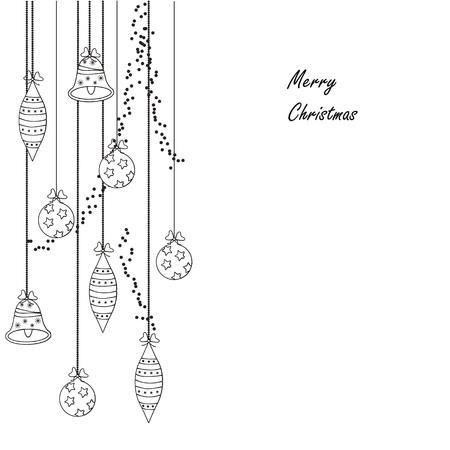 campanas navide�as: Blanco y negro moderno tarjeta de Navidad
