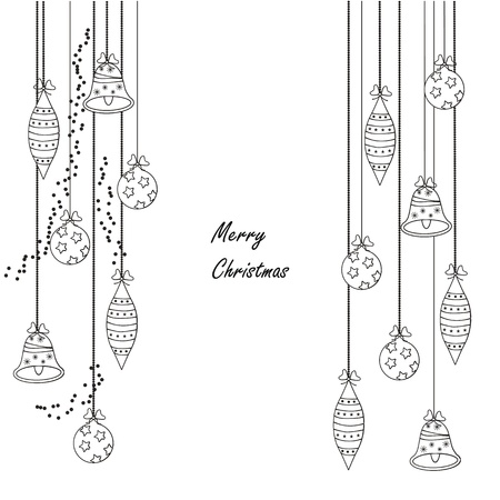 balls decorated: Black and white modern christmas card