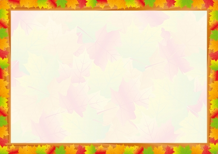 diploma border: Colorful fall frame with leaves