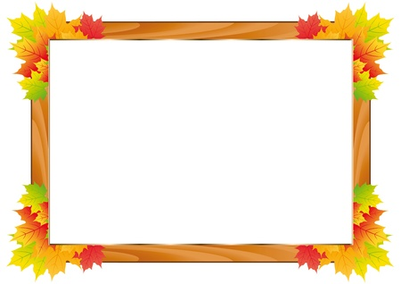 fall leaves border: Colorful fall frame with leaves