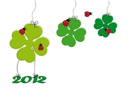 Backgrund with happy clover on New Year 2012 Stock Vector - 10649449