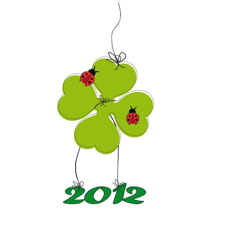 four fourleaf: Backgrund with happy clover on New Year 2012