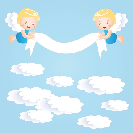 jesus clouds: Baby baptism background with small angel
