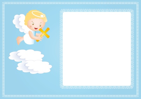 angel girl: Baby baptism frame with small angel