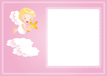 Baby baptism frame with small angel Vector