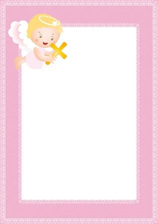 battesimo: Telaio battesimo bambino con piccolo angelo