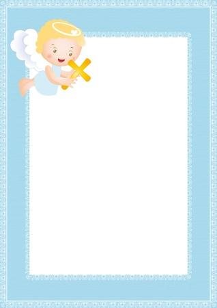 battesimo: Telaio battesimo bambino con piccolo angelo  Vettoriali