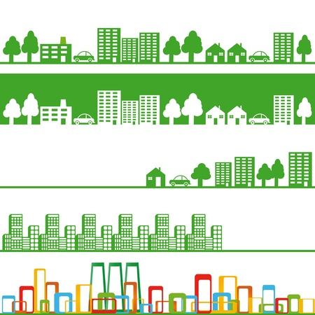 Five banners with eco town Vector