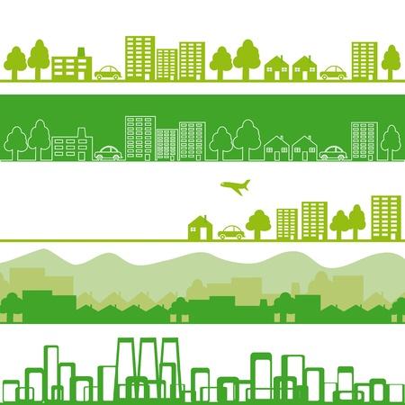 contaminacion ambiental: Cinco pancartas con ciudad ecol�gica