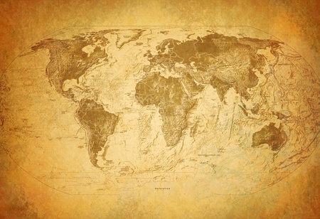 vintage world map: Old map Stock Photo