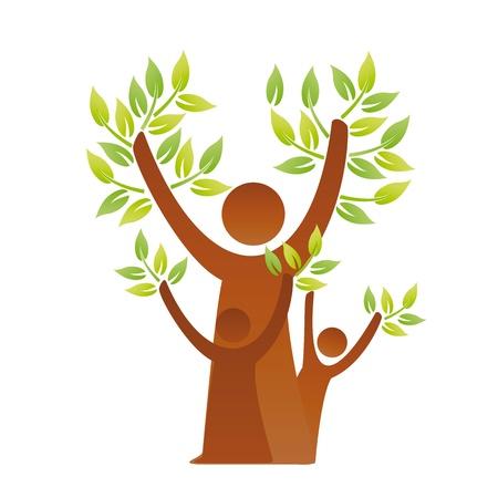 ser padres: Una imagen de una familia verde pictogr�fica Vectores