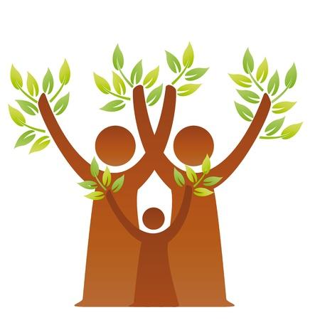 arbol genealógico: Una imagen pictográfica de una familia verde  Vectores