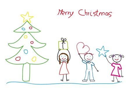 postcard box: Kids drawing with christmas tree and children Illustration