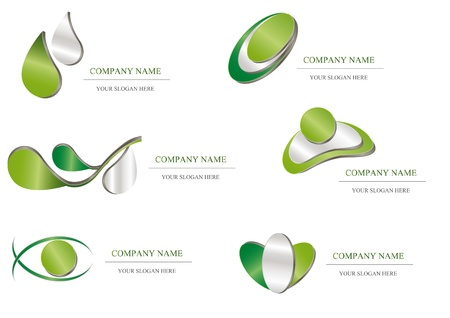 metal template: Abstract icon - green metallic company design Illustration