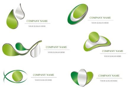 metal template: Abstract icon - green metallic company design Illustration