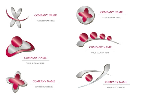 dynamics: Abstract icon - red metallic company design