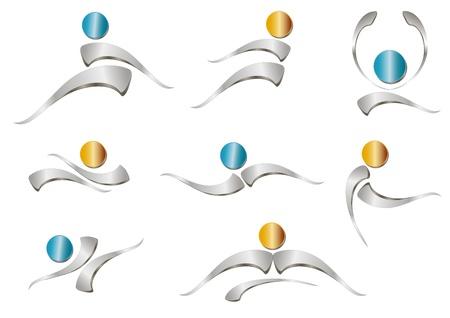 companionship: Icono de gente abstracta - signo metálico Vectores