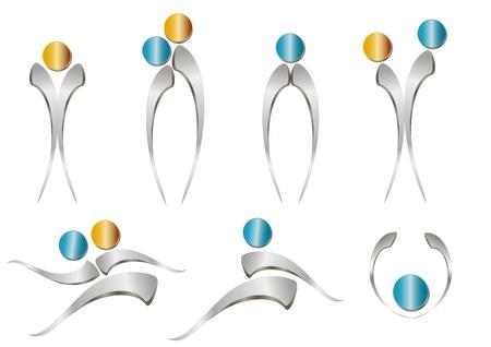 figure logo: Personas icono abstracto - se�al met�lica Vectores