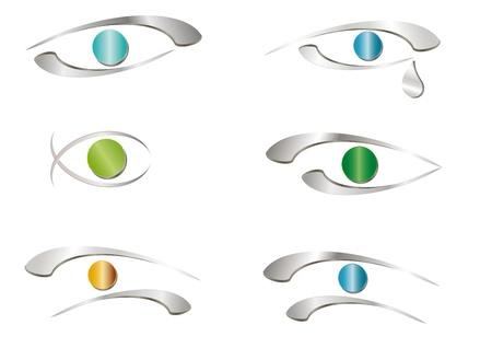 eye drops: Abstract eyes icon -  metallic sign Illustration