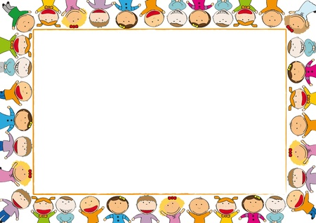 Many boys and girl hold border Stock Vector - 10983917