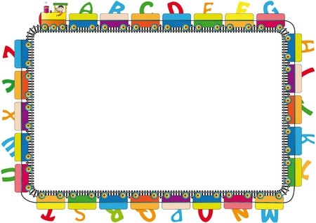 school border: Colorful kids frame with engine and letters