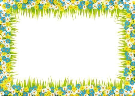 oorkonde: Kleurrijk en in de zomer frame met bloemen en gras Stock Illustratie