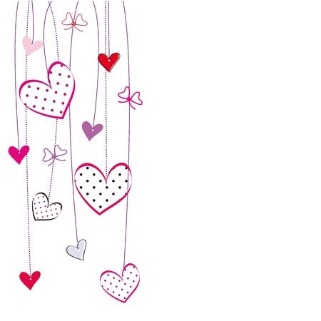 högtider: Gulligt kort med hjärtan på speciella dag Illustration