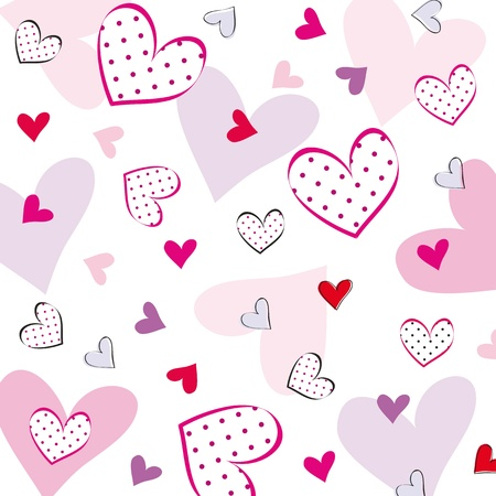 valentines day background: Cute background with hearts on special day Illustration